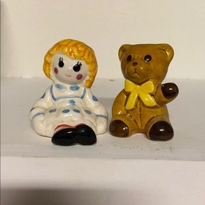 Raggedy Ann and Teddy Bear salt and pepper shakers